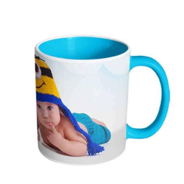 blue mug with one mage Photo print on mug - photo mug online photo print on mug