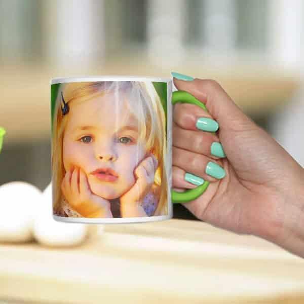 green mug with one mage Photo print on mug - photo mug online photo print on mug