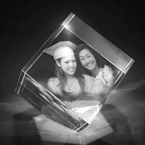 personalised 3D crystal photo diamond shape image with customized text 2 3D crystal Diamond 3d crystal