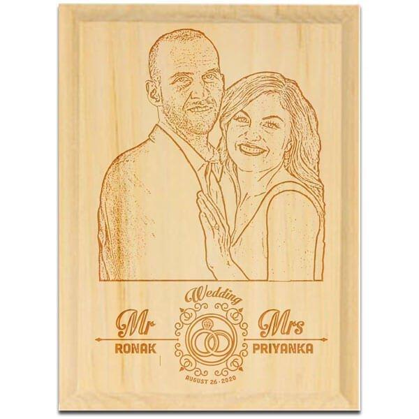 6x8 2 wood engraving portrait wedding wood engraving