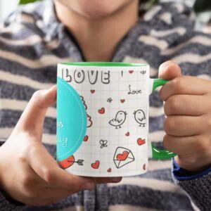 Coffee mug with print love 1 green. Coffee mug with print,mug with print,photo mug