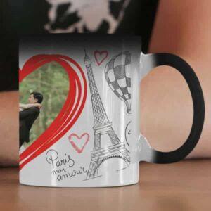Couple photo in a paris theme 1 coffee mug with print,mug with print,photo mug