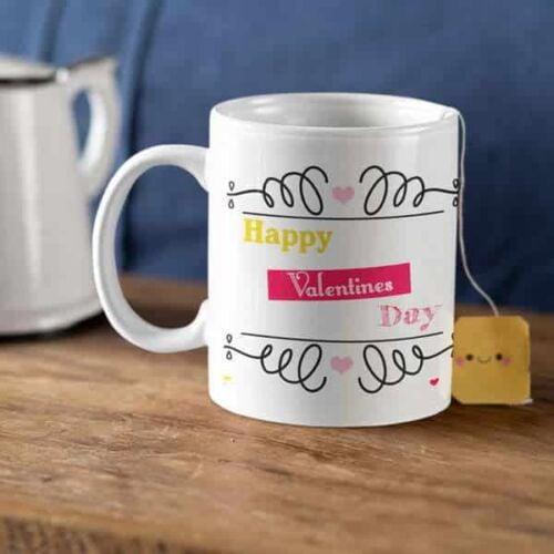 Happy Valentines Day Hugging Monkeys 2 Coffee Mug with Print - Happy Valentine's day - White mug Coffee mug with Print