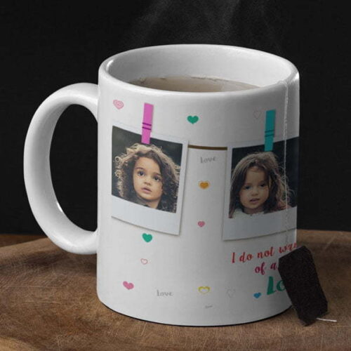I love you Four Photos 1 Coffee mug with print for love - Blue mug Coffee mug with Print