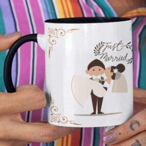 Just married 3 coffee mug with print,mug with print,photo mug