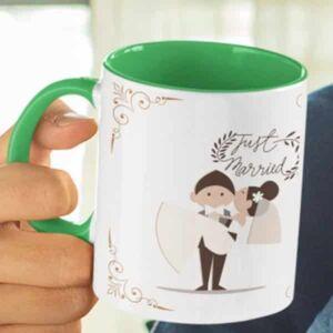 Just married 6 coffee mug with print,mug with print,photo mug