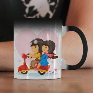 Lovers in a moped 2 coffee mug with print,mug with print,photo mug