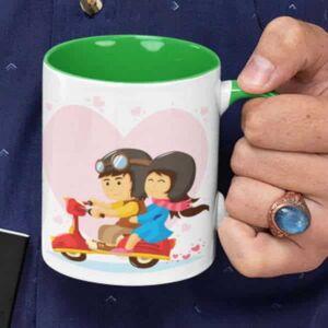 Lovers in a moped 4 coffee mug with print,mug with print,photo mug