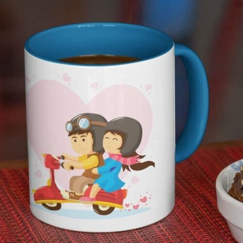 Lovers in a moped 5 coffee mug with print,mug with print,photo mug