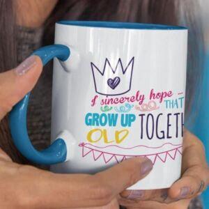 birthday-grow up old together blue mug