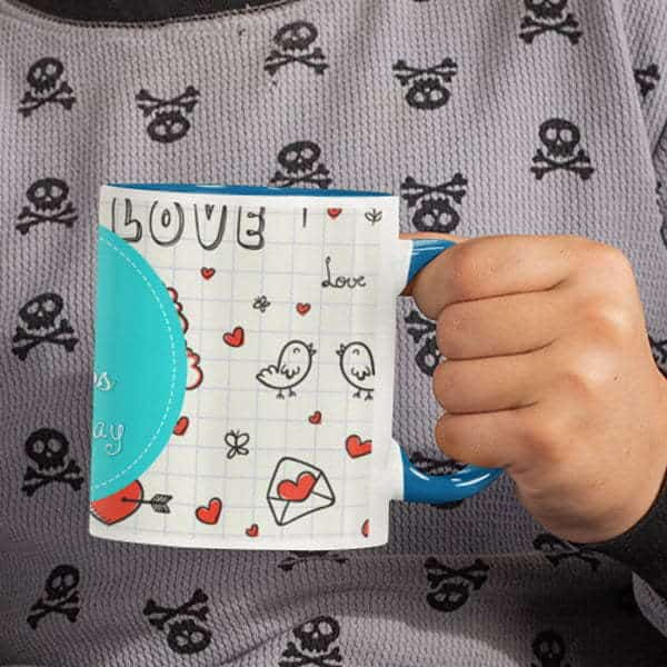 Coffee mug with print love 1 blue.