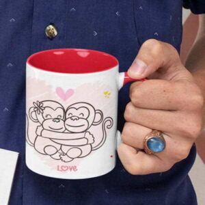 Happy valentines day hugging monkeys 3 coffee mug with print,mug with print,photo mug
