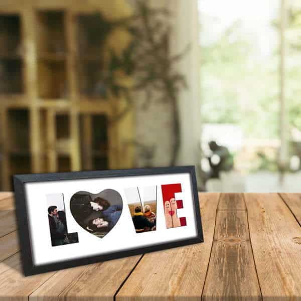"love 2 Name Frame - Favourite Photos in Letters of ""LOVE"""