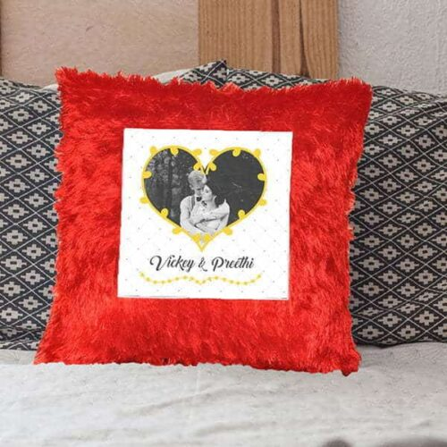 r3 Customized pillows - Red - With Couple Name Customized Pillow