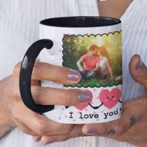 Black 2 coffee mug with print,mug with print,photo mug