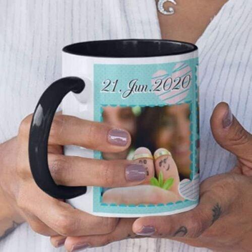 Black 3 Coffee mug with print - Mug for wedding anniversary - Red mug Coffee mug with Print