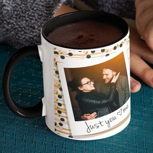 Black 5 Coffee mug with print - Happy valentine's day - Black mug Coffee mug with Print