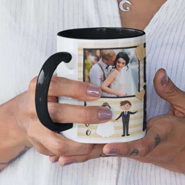 Black 8 Coffee mug with print - mug for just married couple - Red mug Coffee mug with Print