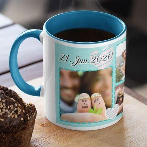 Blue 3 Coffee mug with print - Mug for wedding anniversary - Red mug Coffee mug with Print