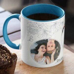 Blue 4 coffee mug with print,mug with print,photo mug