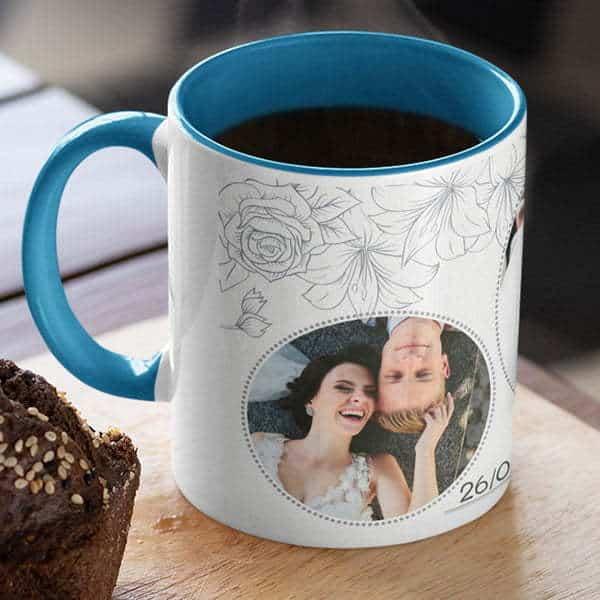 Blue 4 Coffee mug with print - Floral design mug for wedding - Black mug Coffee mug with Print