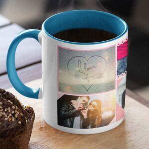 Blue 6 coffee mug with print,mug with print,photo mug