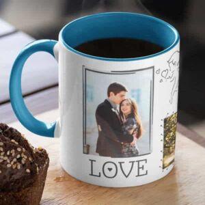 Blue 7 coffee mug with print,mug with print,photo mug