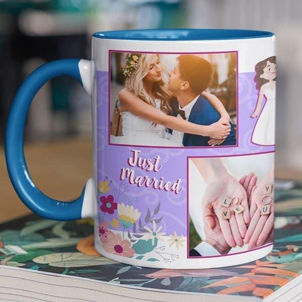 Blue 9 Coffee mug with print - mug for newly married couple - Green mug Coffee mug with Print