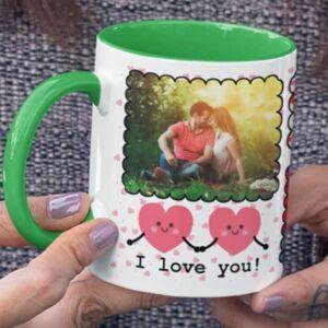 Green 2 coffee mug with print,mug with print,photo mug