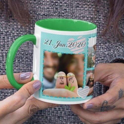 Green 3 Coffee mug with print - Mug for wedding anniversary - Red mug Coffee mug with Print