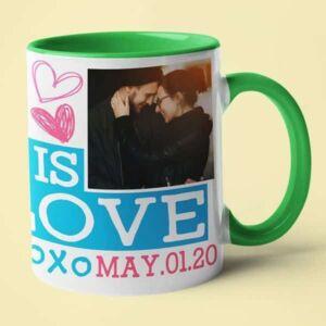 Green coffee mug with print,mug with print,photo mug