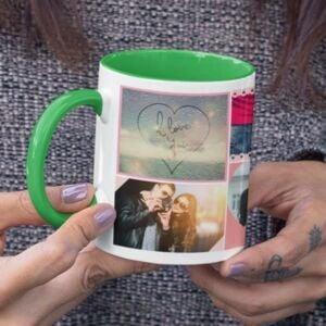 Green 6 coffee mug with print,mug with print,photo mug