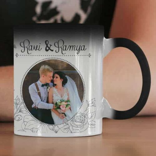 Magic 4 Coffee mug with print - Floral design mug for wedding - Blue mug Coffee mug with Print