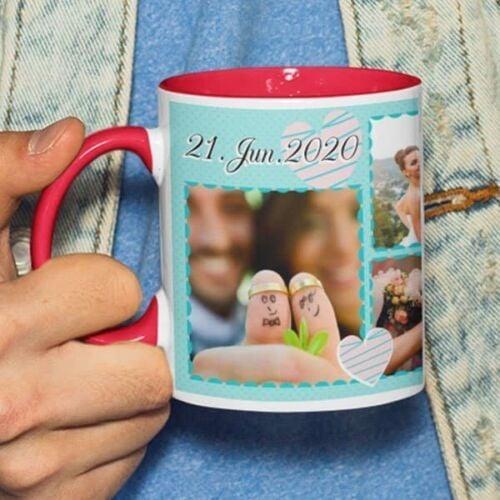Red 3 Coffee mug with print - Mug for wedding anniversary - Red mug Coffee mug with Print