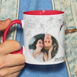 Red 4 coffee mug with print,mug with print,photo mug