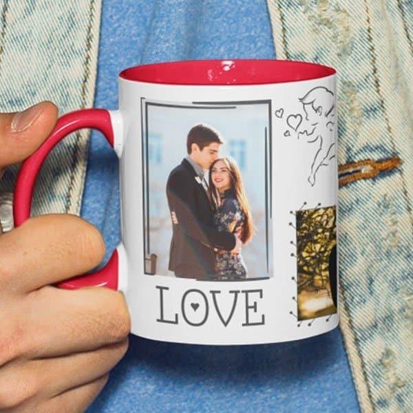 Red 7 Coffee mug with print - I will love - Black mug Coffee mug with Print