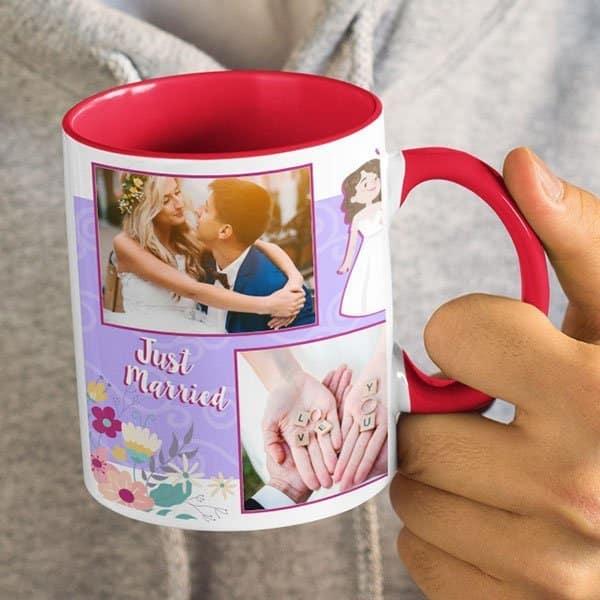 Red 9 Coffee mug with print - mug for newly married couple - Green mug Coffee mug with Print