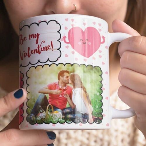 White 2 Coffee mug with print - Be my Valentine, I love you - Magic mug Coffee mug with Print