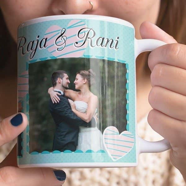 White 3 Coffee mug with print - Mug for Wedding - Magic mug Coffee mug with Print