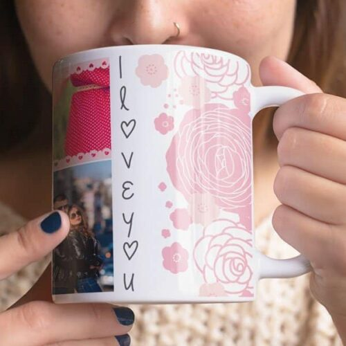 White 6 Coffee mug with print - I love you - Red mug Coffee mug with Print