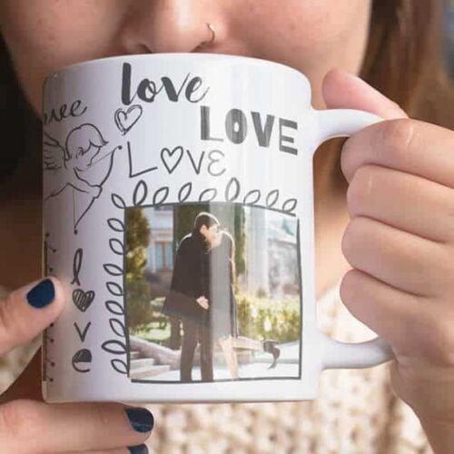 White 7 coffee mug with print,mug with print,photo mug