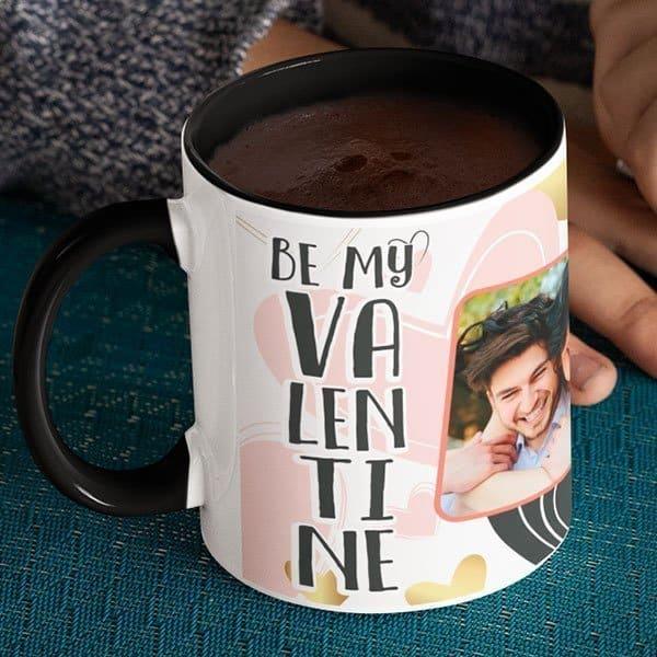 black Coffee mug with print - Be my Valentine - Black mug Coffee mug with Print