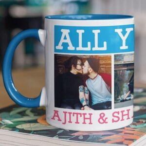 Blue coffee mug with print,mug with print,photo mug