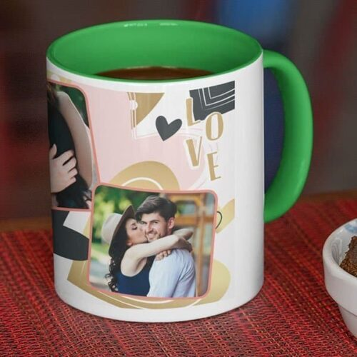 green Coffee mug with print - Be my Valentine - White mug Coffee mug with Print