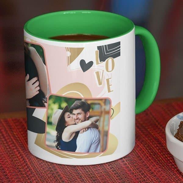 green Coffee mug with print - Be my Valentine - White mug Coffee mug with Print