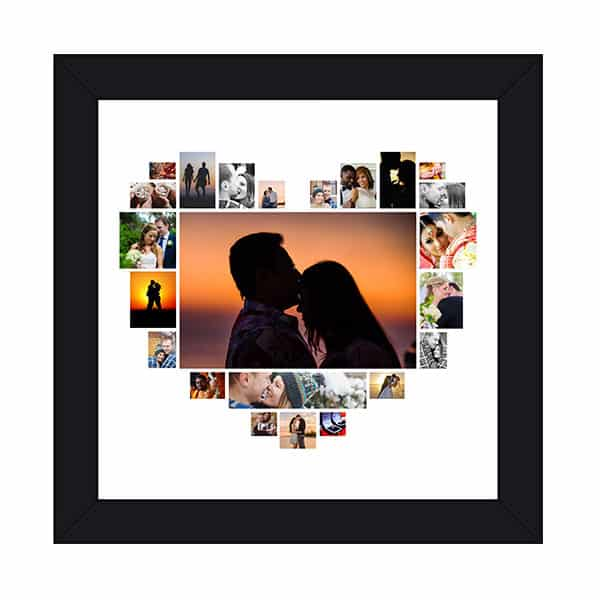 hspcf 2 3 Anniversary Collage - Heart Shaped Photo Collage Frame with 23 Photos