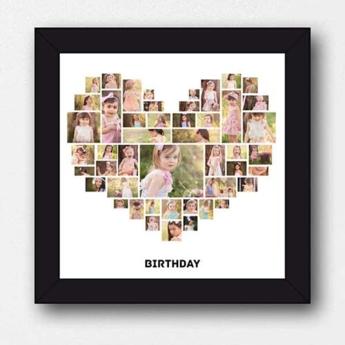 hspcf 2 9 7 Birthday Collage with 47 Photos - Heart Shaped Photo Collage Frame with Text
