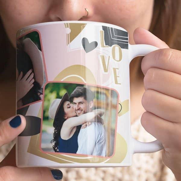 white Coffee mug with print - Be my Valentine - Black mug Coffee mug with Print