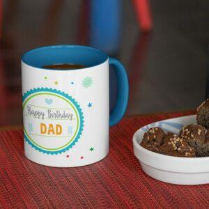 Happy birthday dad blue coffee mug with print,mug with print,photo mug
