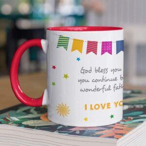 Happy birthday dad red coffee mug with print,mug with print,photo mug
